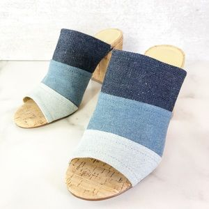 Marc Fisher color block chambray mule 6.5